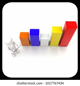 3d man presenting bar graph concept in white isolated background - 3d rendering ,  top angle view
