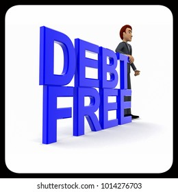 3d man presenting debt free text concept in white isolated background , side angle view