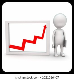 3d man presenting growth graph  concept on white background - 3d rendering , front angle view
