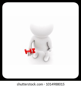 3d man presenting hi text concept   on white isolated background , top angle view