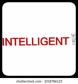 3d man presenting intelligent text concept in white isolated background - 3d rendering ,  front angle view