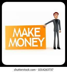 3d man presenting make money concept on white isolated background - 3d rendering , front angle view