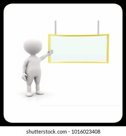"3d man presenting ""presentation board "" concept   on white background , front angle view"