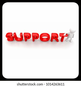 """3d man presenting """"support"""" text concept on white background , top angle view"""