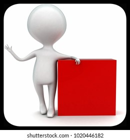 3d man presenting red box concept in white isolated background - 3d rendering ,   front angle view