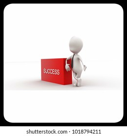 3d man presenting success text in rectangular box concept in white isolated background , side angle view