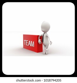 3d man presenting team text in rectangular box concept in white isolated background , side angle view