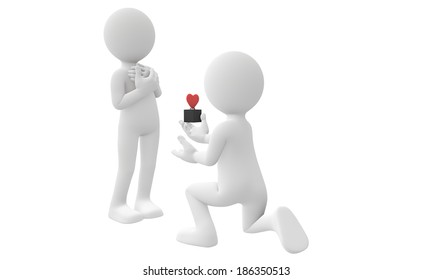 3d man propose his girlfriend with  red heart ring isolated on white background