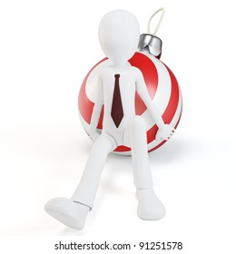 3d man pushing a christmas ball on white background