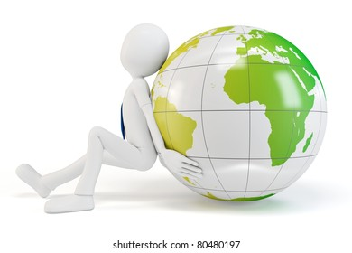 3d man pushing the earth globe isolated on white