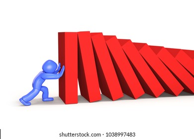 3d man pushing and stopping dominoes falling, isolated on white background, 3D illustration