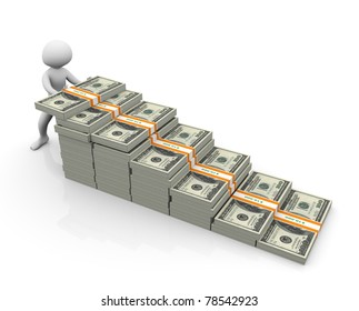 3d man putting dollar stack. Concept of making money