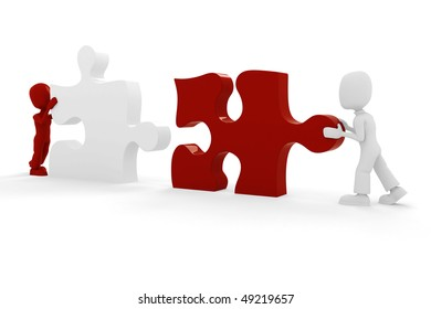 3d man and puzzle piece