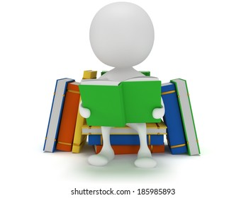 3d Man reading book on white background. Studying illustration. Back to school. Education concept.