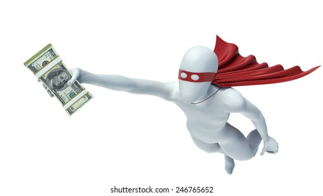 3d man in a red cloak with money