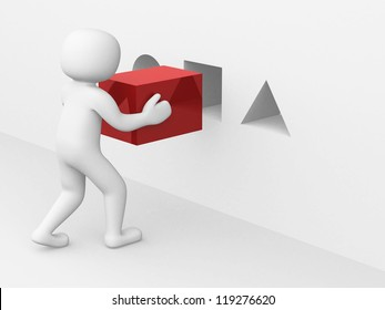 3d man with red cube - this is 3d render illustration
