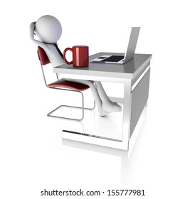 3d man resting at desk with laptop. Rendered on white background