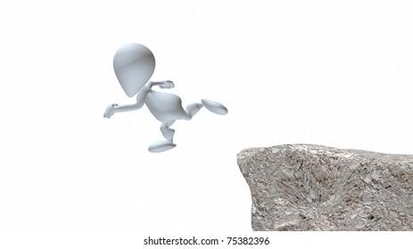 A 3d man running off cliff