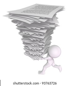 3d man running with a stack of papers