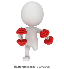 3d man running with weights. Aerobics and fitness concept. 3d render isolated on white.