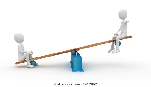 3d man with seesaw isolated on white