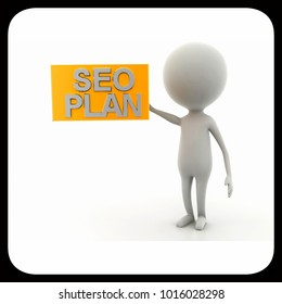 3d man SEO plan concept in white background - 3d rendering , front angle view