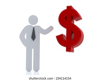 3d man showing hand with red dollar sign on white background