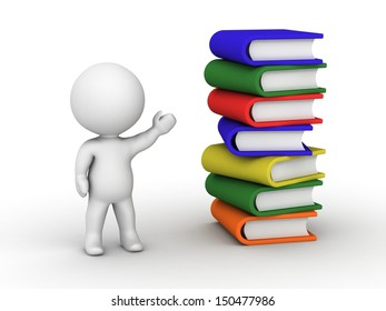 3D Man Showing Stack of Books