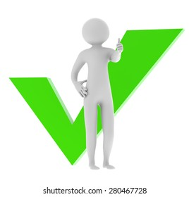 3D man showing thumb up with green check mark isolated on a white background