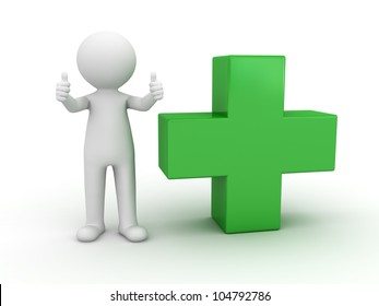 3d man showing thumbs up with green plus sign on white background