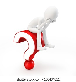 3d man sitting on a question mark on white background
