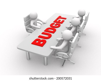 3D man sitting at a round table and having business meeting - and word Budget - 3d render