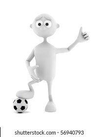 3d man with soccer ball isolated on white background
