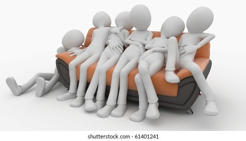 3d man with sofa isolated on white
