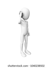 3d man speaking on the smart phone isolated white background . 3d illustration