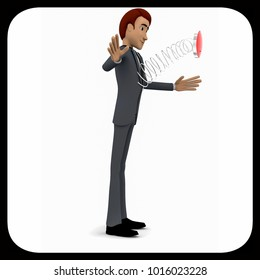 3d man - a spring messenger pop out from body concept in white isolated background , side angle view