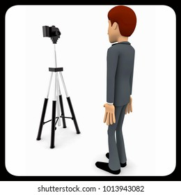 3d man stand in front of camera on tripod concept on white background, side angle view