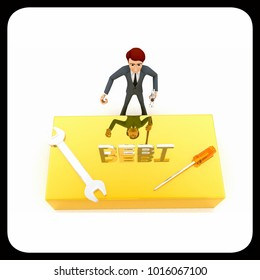 3d man standing with debt text and wrench concept on white background, top angle view