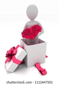 3d man standing in a gift box and holding a diamond heart