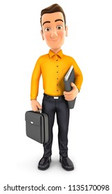 3d man standing and holding briefcase, illustration with isolated white background