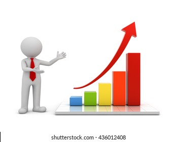 3d man standing and presenting growth business graph with red rising arrow concept isolated over white background with reflection. 3D rendering.