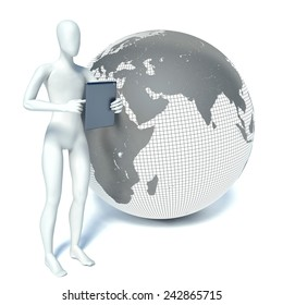 3d man standing with a tablet pc near the planet