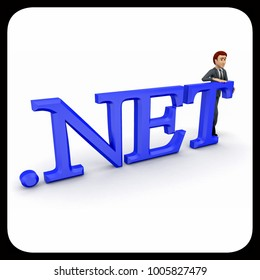 3d man standing with .net text concept on white background,  side angle view