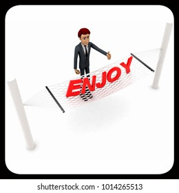3d man standing waving hand and ENJOY text on weaver concept on white background - 3d rendering , top angle view