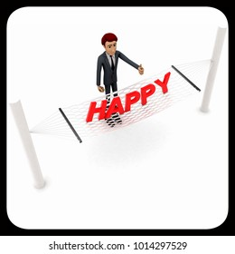 3d man standing waving hand and HAPPY text on weaver concept on white background - 3d rendering , top angle view