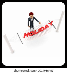3d man standing waving hand and HOLIDAY text on weaver concept on white background - 3d rendering , top angle view