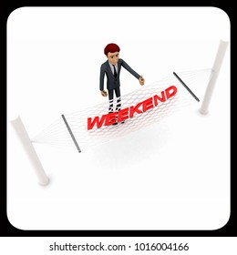 3d man standing waving hand and WEEKEND text on weaver concept on white background - 3d rendering , top angle view