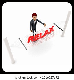 3d man standing waving hand and RELAX text on weaver concept on white background - 3d rendering , top angle view