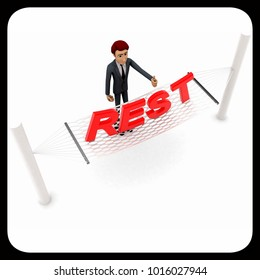 3d man standing waving hand and REST text on weaver concept on white background - 3d rendering , top angle view