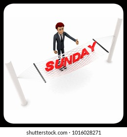 3d man standing waving hand and SUNDAY text on weaver concept on white background - 3d rendering , top angle view